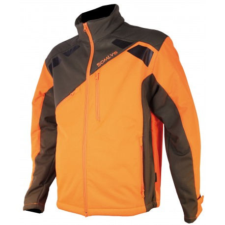 419 - Orange softshell sherpa jacket
