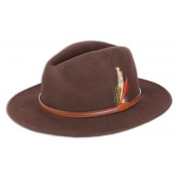 972 - Chapeau marron avec plume