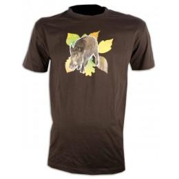050M - Tee shirt sanglier feuilles
