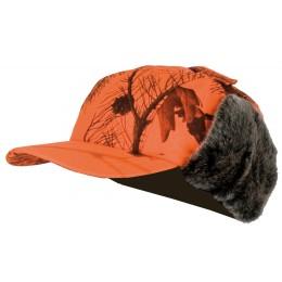 915 - Casquette avec cache oreilles fourrés camouflage orange