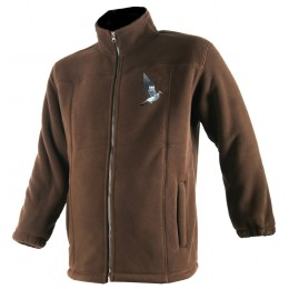 484 - Blouson polaire marron, broderie Palombes
