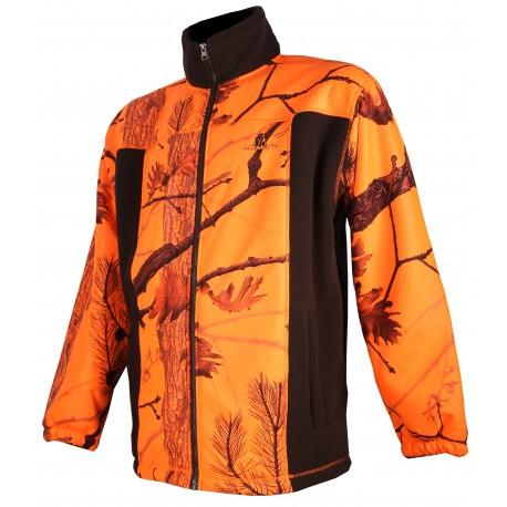 485 - Blouson polaire marron et camouflage orange