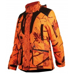 471LADY - Veste matelassée camouflage orange, coupe femme